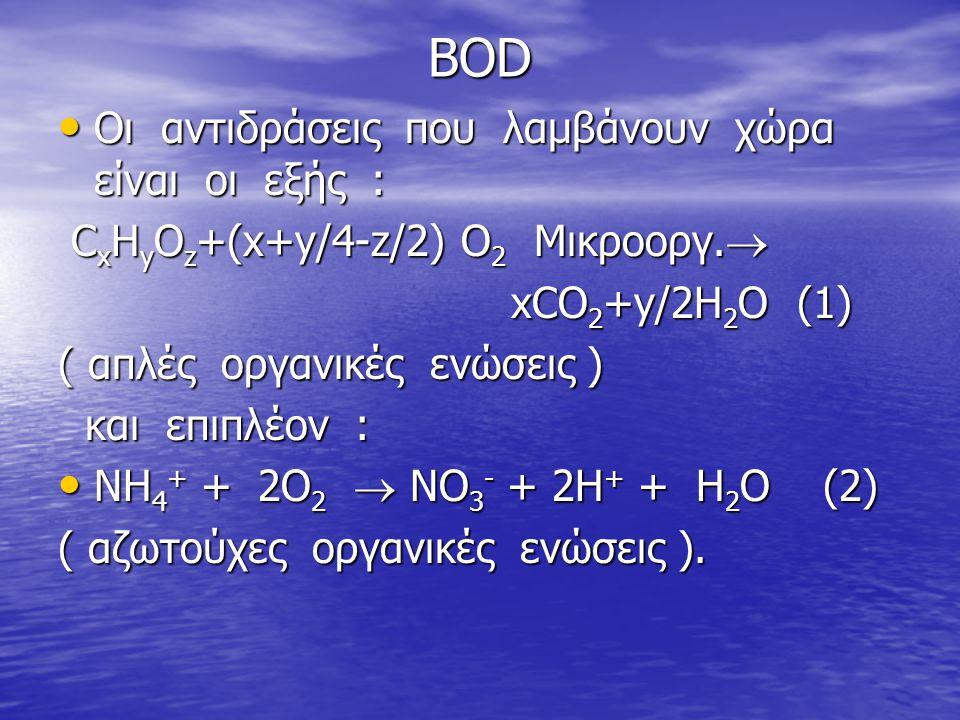 BOD • Οι αντιδράσεις που λαμβάνουν χώρα είναι οι εξής : C x H y O z +(x+y/4-z/2) O 2 Μικροοργ.  C x H y O z +(x+y/4-z/2) O 2 Μικροοργ.  xCO 2 +y/2H