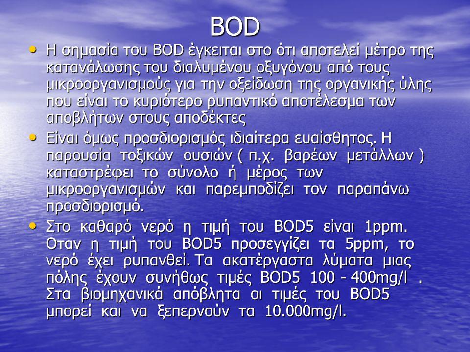 BOD • Η σημασία του BOD έγκειται στο ότι αποτελεί μέτρο της κατανάλωσης του διαλυμένου οξυγόνου από τους μικροοργανισμούς για την οξείδωση της οργανικ