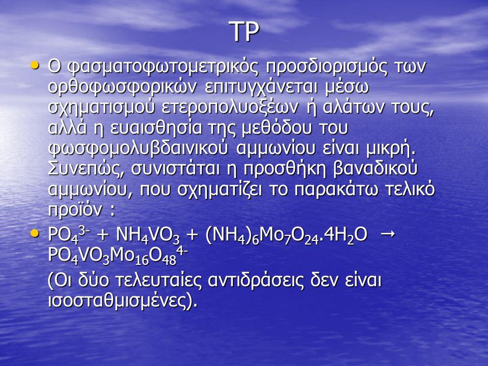 ΤΡ • O φασματοφωτομετρικός προσδιορισμός των ορθοφωσφορικών επιτυγχάνεται μέσω σχηματισμού ετεροπολυοξέων ή αλάτων τους, αλλά η ευαισθησία της μεθόδου