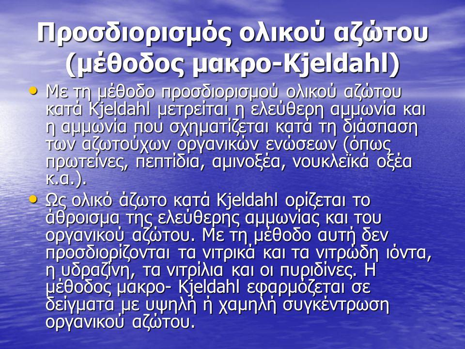 Προσδιορισμός ολικού αζώτου (μέθοδος μακρο-Kjeldahl) • Με τη μέθοδο προσδιορισμού ολικού αζώτου κατά Κjeldahl μετρείται η ελεύθερη αμμωνία και η αμμων