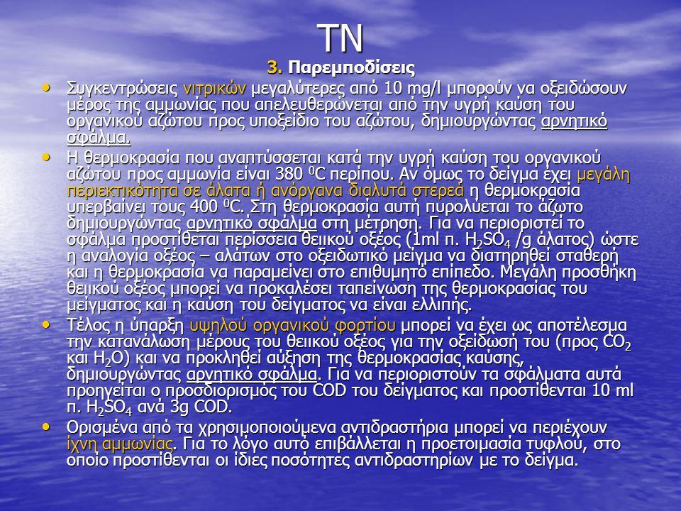 TN 3. Παρεμποδίσεις • Συγκεντρώσεις νιτρικών μεγαλύτερες από 10 mg/l μπορούν να οξειδώσουν μέρος της αμμωνίας που απελευθερώνεται από την υγρή καύση τ