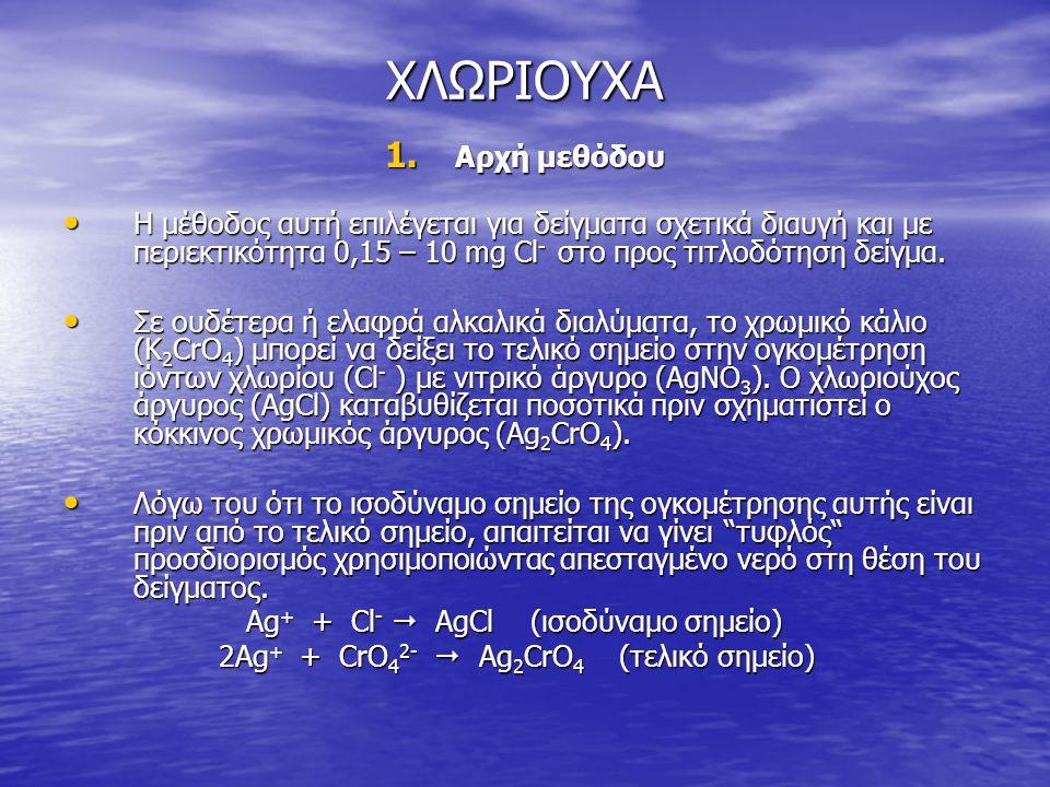 ΧΛΩΡΙΟΥΧΑ 1. Αρχή μεθόδου • Η μέθοδος αυτή επιλέγεται για δείγματα σχετικά διαυγή και με περιεκτικότητα 0,15 – 10 mg Cl - στο προς τιτλοδότηση δείγμα.