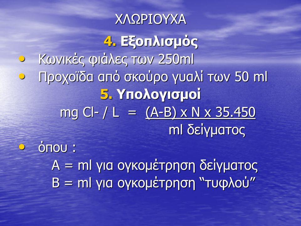 ΧΛΩΡΙΟΥΧΑ 4. Εξοπλισμός • Κωνικές φιάλες των 250ml • Προχοϊδα από σκούρο γυαλί των 50 ml 5. Υπολογισμοί mg Cl- / L = (A-B) x N x 35.450 mg Cl- / L = (