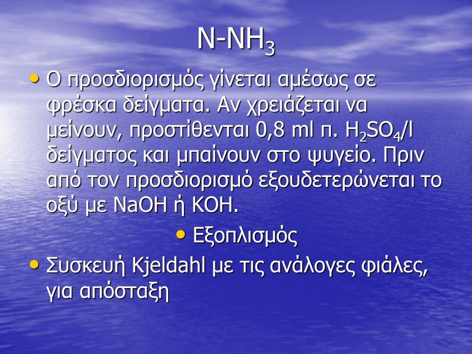 Ν-ΝΗ 3 • Ο προσδιορισμός γίνεται αμέσως σε φρέσκα δείγματα. Αν χρειάζεται να μείνουν, προστίθενται 0,8 ml π. H 2 SO 4 /l δείγματος και μπαίνουν στο ψυ