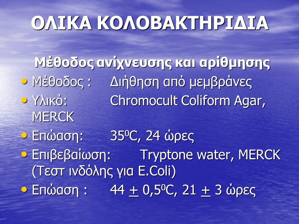 ΟΛΙΚΑ ΚΟΛΟΒΑΚΤΗΡΙΔΙΑ Μέθοδος ανίχνευσης και αρίθμησης • Μέθοδος :Διήθηση από μεμβράνες • Υλικό:Chromocult Coliform Agar, MERCK • Επώαση: 35 0 C, 24 ώρ