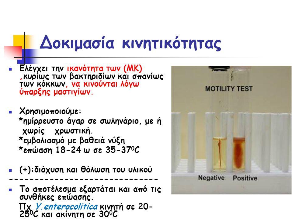 Δοκιμασία κινητικότητας  Ελέγχει την ικανότητα των (ΜΚ),κυρίως των βακτηριδίων και σπανίως των κόκκων, να κινούνται λόγω ύπαρξης μαστιγίων.