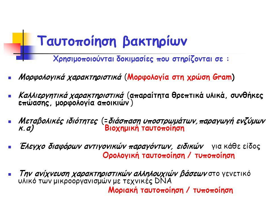 Ταυτοποίηση βακτηρίων Xρησιμοποιούνται δοκιμασίες που στηρίζονται σε :  Μορφολογικά χαρακτηριστικά (Μορφολογία στη χρώση Gram)  Καλλιεργητικά χαρακτηριστικά (απαραίτητα θρεπτικά υλικά, συνθήκες επώασης, μορφολογία αποικιών )  Μεταβολικές ιδιότητες (=διάσπαση υποστρωμάτων,παραγωγή ενζύμων κ.α) Βιοχημική ταυτοποίηση  Έλεγχο διαφόρων αντιγονικών παραγόντων, ειδικών για κάθε είδος Ορολογική ταυτοποίηση / τυποποίηση  Την ανίχνευση χαρακτηριστικών αλληλουχιών βάσεων στο γενετικό υλικό των μικροοργανισμών με τεχνικές DNA Μοριακή ταυτοποίηση / τυποποίηση