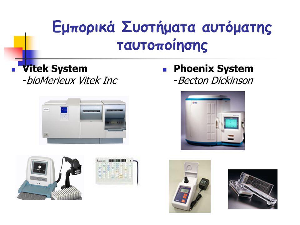 Εμπορικά Συστήματα αυτόματης ταυτοποίησης  Vitek System -bioMerieux Vitek Inc  Phoenix System -Becton Dickinson