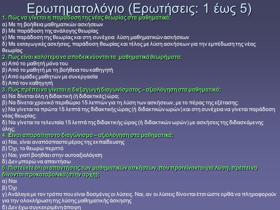 Ερωτηματολόγιο (Ερωτήσεις: 1 έως 5) 1.