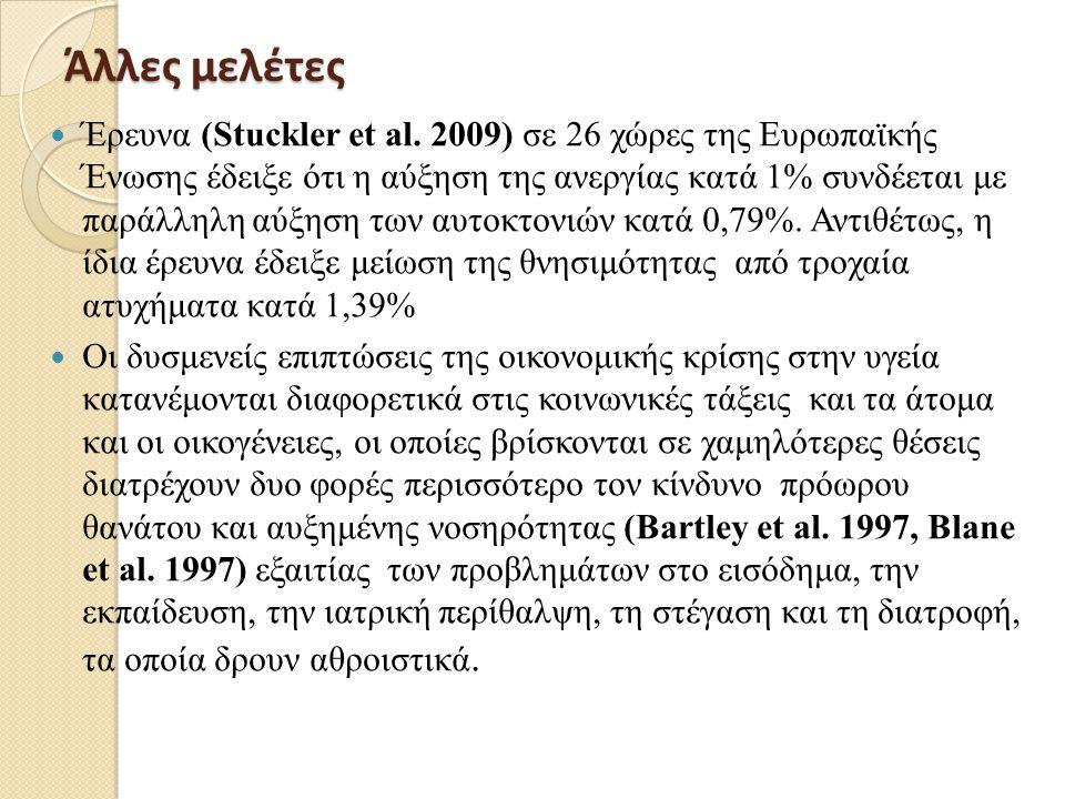  Τέλος, η ανεργία η οποία συνδέεται επίσης με ψυχολογικές συνέπειες (ανησυχία, άγχος, κατάθλιψη), χαμηλή αυτοεκτίμηση του επιπέδου υγείας και παράγοντες κινδύνου για καρδιαγγειακά νοσήματα (Bethune 1997, Burchell 1994).