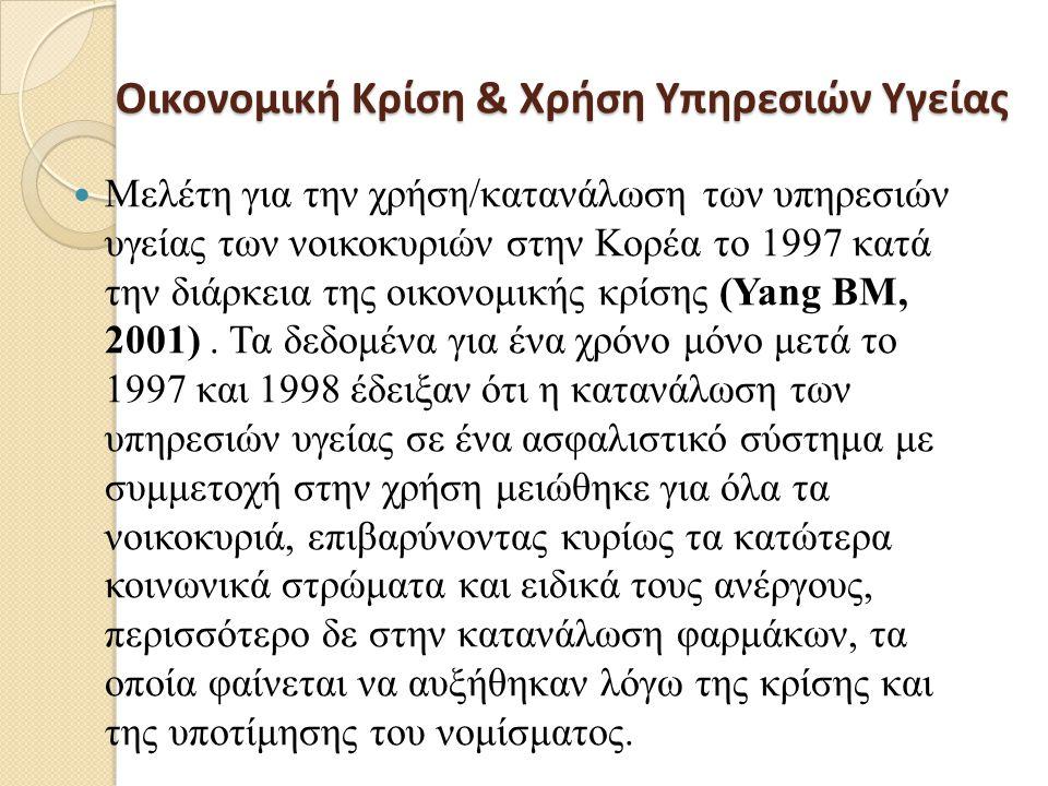 Οικονομική Κρίση & Χρήση Υπηρεσιών Υγείας Οικονομική Κρίση & Χρήση Υπηρεσιών Υγείας  Μελέτη για την χρήση/κατανάλωση των υπηρεσιών υγείας των νοικοκυριών στην Κορέα το 1997 κατά την διάρκεια της οικονομικής κρίσης (Yang BM, 2001).
