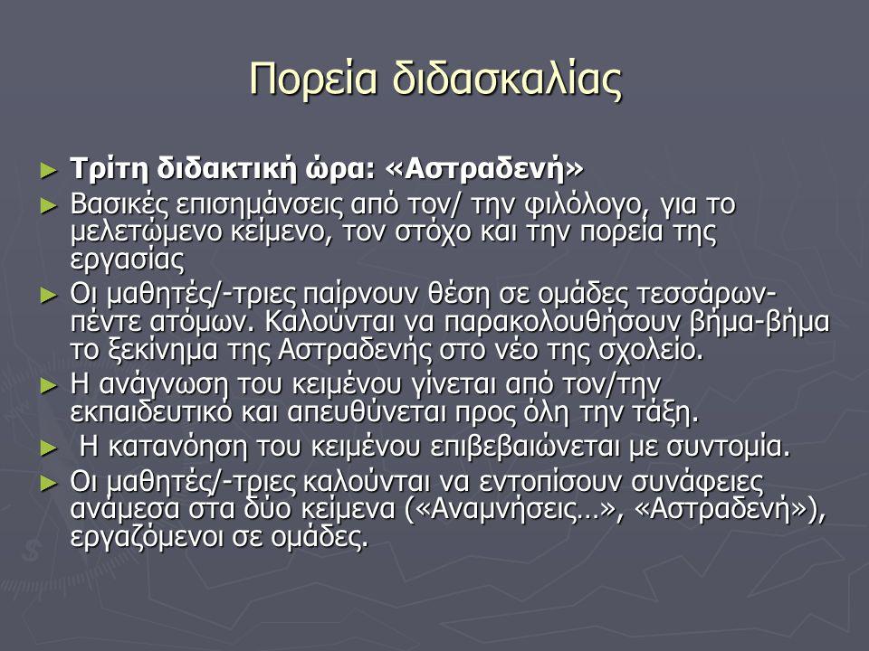 Πορεία διδασκαλίας ► Τρίτη διδακτική ώρα: «Αστραδενή» ► Βασικές επισημάνσεις από τον/ την φιλόλογο, για το μελετώμενο κείμενο, τον στόχο και την πορεί