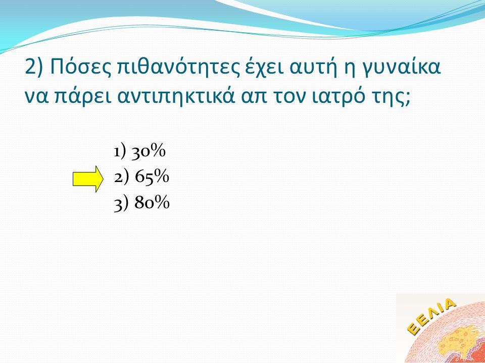 2) Πόσες πιθανότητες έχει αυτή η γυναίκα να πάρει αντιπηκτικά απ τον ιατρό της; 1) 30% 2) 65% 3) 80%