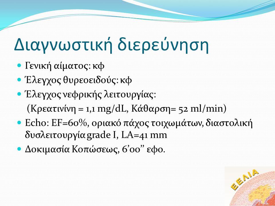 Διαγνωστική διερεύνηση  Γενική αίματος: κφ  Έλεγχος θυρεοειδούς: κφ  Έλεγχος νεφρικής λειτουργίας: (Kρεατινίνη = 1,1 mg/dL, Κάθαρση= 52 ml/min)  E