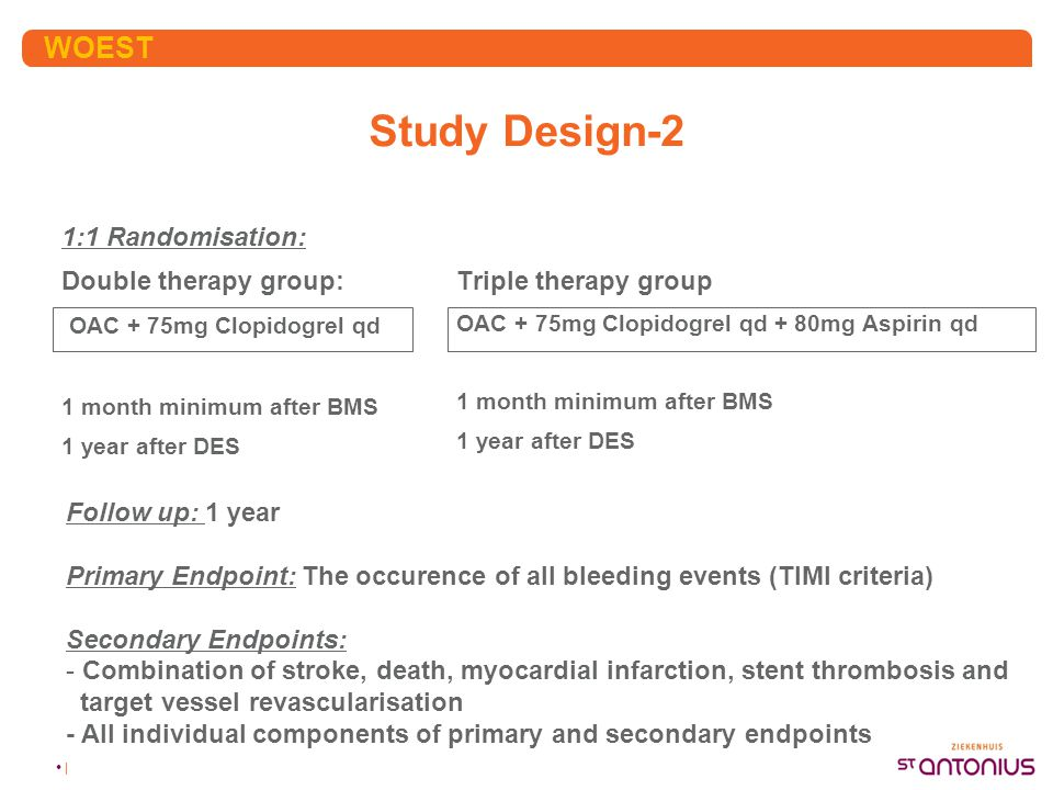 • | Study Design-2 1:1 Randomisation: Double therapy group: OAC + 75mg Clopidogrel qd 1 month minimum after BMS 1 year after DES Triple therapy group