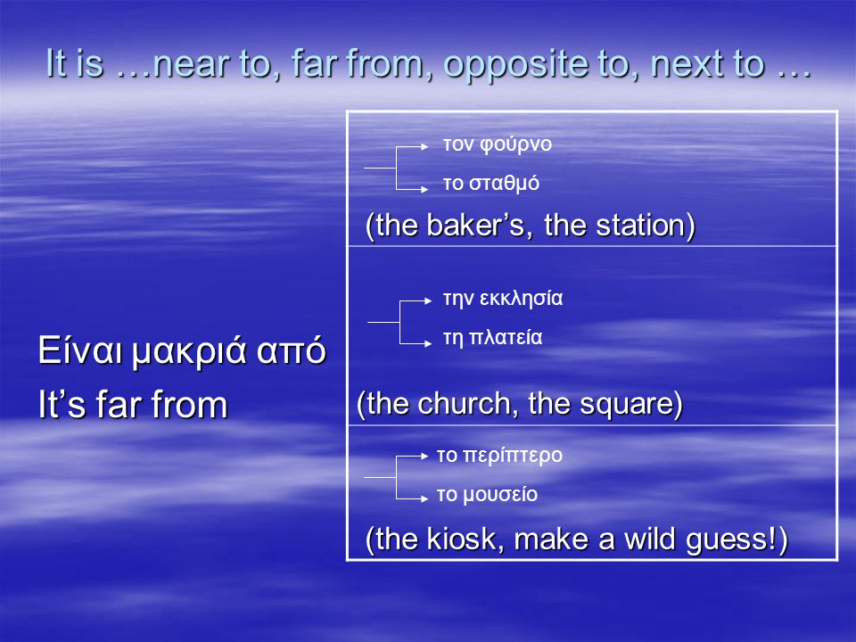 It is …near to, far from, opposite to, next to … Είναι απέναντι από It's opposite from (the baker's, the station) (the baker's, the station) (the church, the square) (the kiosk, make a wild guess!) (the kiosk, make a wild guess!) τον φούρνο το σταθμό την εκκλησία τη πλατεία το περίπτερο το μουσείο