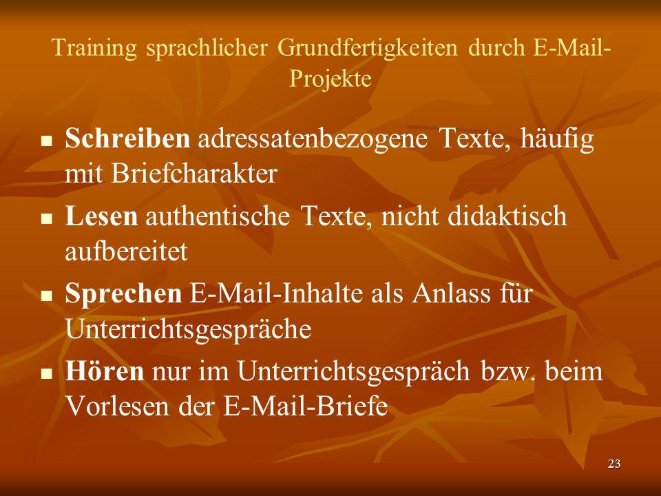 23 Training sprachlicher Grundfertigkeiten durch E-Mail- Projekte   Schreiben adressatenbezogene Texte, häufig mit Briefcharakter   Lesen authenti
