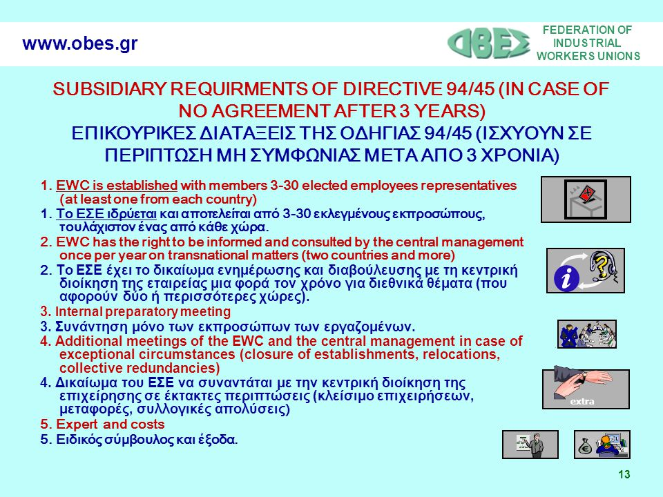 FEDERATION OF INDUSTRIAL WORKERS UNIONS 13 www.obes.gr SUBSIDIARY REQUIRMENTS OF DIRECTIVE 94/45 (IN CASE OF NO AGREEMENT AFTER 3 YEARS) ΕΠΙΚΟΥΡΙΚΕΣ Δ