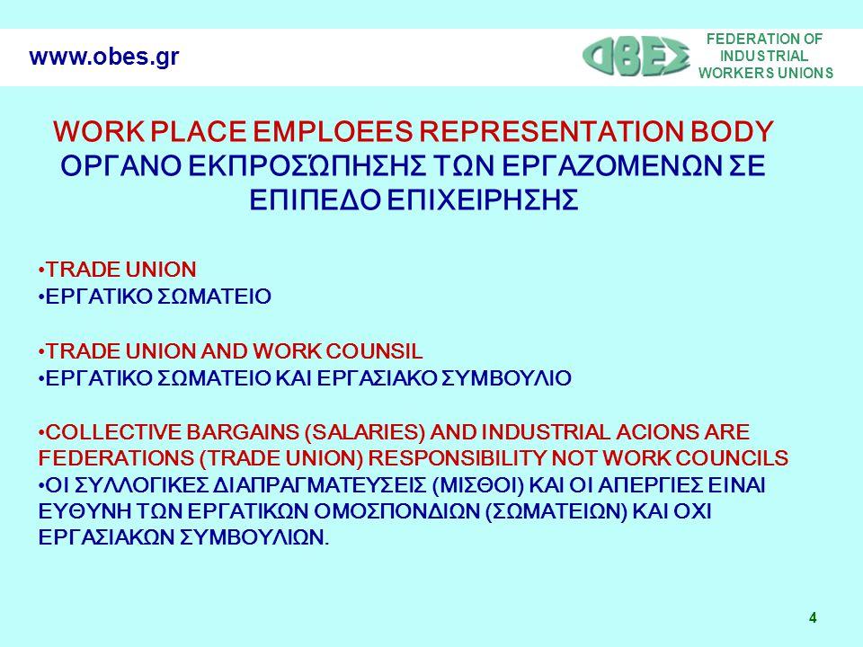FEDERATION OF INDUSTRIAL WORKERS UNIONS 4 www.obes.gr WORK PLACE EMPLOEES REPRESENTATION BODY ΟΡΓΑΝΟ ΕΚΠΡΟΣΏΠΗΣΗΣ ΤΩΝ ΕΡΓΑΖΟΜΕΝΩΝ ΣΕ ΕΠΙΠΕΔΟ ΕΠΙΧΕΙΡΗΣΗΣ •TRADE UNION •ΕΡΓΑΤΙΚΟ ΣΩΜΑΤΕΙΟ •TRADE UNION AND WORK COUNSIL •ΕΡΓΑΤΙΚΟ ΣΩΜΑΤΕΙΟ ΚΑΙ ΕΡΓΑΣΙΑΚΟ ΣΥΜΒΟΥΛΙΟ •COLLECTIVE BARGAINS (SALARIES) AND INDUSTRIAL ACIONS ARE FEDERATIONS (TRADE UNION) RESPONSIBILITY ΝΟΤ WORK COUNCILS •ΟΙ ΣΥΛΛΟΓΙΚΕΣ ΔΙΑΠΡΑΓΜΑΤΕΥΣΕΙΣ (ΜΙΣΘΟΙ) ΚΑΙ ΟΙ ΑΠΕΡΓΙΕΣ ΕΙΝΑΙ ΕΥΘΥΝΗ ΤΩΝ ΕΡΓΑΤΙΚΩΝ ΟΜΟΣΠΟΝΔΙΩΝ (ΣΩΜΑΤΕΙΩΝ) ΚΑΙ ΟΧΙ ΕΡΓΑΣΙΑΚΩΝ ΣΥΜΒΟΥΛΙΩΝ.