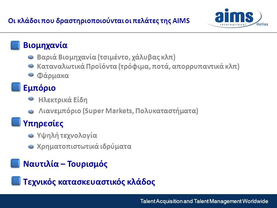 Talent Acquisition and Talent Management Worldwide Βιομηχανία Βαριά Βιομηχανία (τσιμέντο, χάλυβας κλπ) Καταναλωτικά Προϊόντα (τρόφιμα, ποτά, απορρυπαντικά κλπ) Φάρμακα Εμπόριο Ηλεκτρικά Είδη Λιανεμπόριο (Super Markets, Πολυκαταστήματα) Υπηρεσίες Υψηλή τεχνολογία Χρηματοπιστωτικά ιδρύματα Ναυτιλία – Τουρισμός Τεχνικός κατασκευαστικός κλάδος Οι κλάδοι που δραστηριοποιούνται οι πελάτες της AIMS
