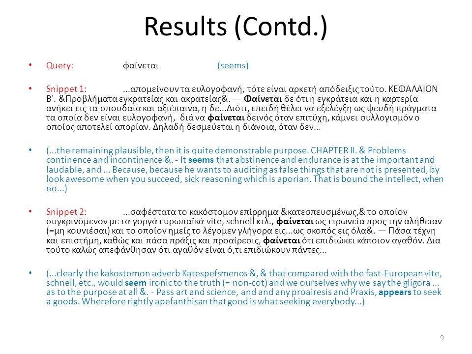 Results (Contd.) 9 • Query:φαίνεται(seems) • Snippet 1:...απομείνουν τα ευλογοφανή, τότε είναι αρκετή απόδειξις τούτο. ΚΕΦΑΛΑΙΟΝ Β'. &Προβλήματα εγκρα