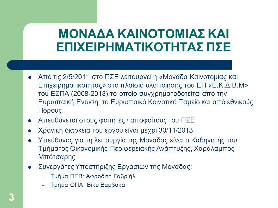 3 ΜΟΝΑΔΑ ΚΑΙΝΟΤΟΜΙΑΣ ΚΑΙ ΕΠΙΧΕΙΡΗΜΑΤΙΚΟΤΗΤΑΣ ΠΣΕ  Από τις 2/5/2011 στο ΠΣΕ λειτουργεί η «Μονάδα Καινοτομίας και Επιχειρηματικότητας» στο πλαίσιο υλοπ