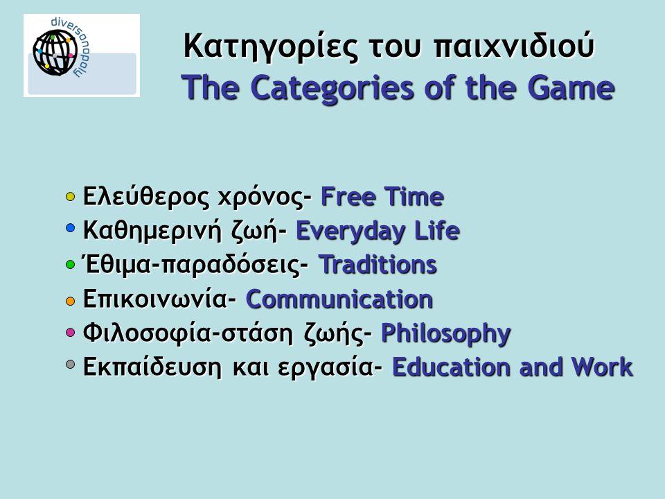 Κατηγορίες του παιχνιδιού The Categories of the Game Ελεύθερος χρόνος- Free Time Καθημερινή ζωή- Everyday Life Έθιμα-παραδόσεις- Traditions Επικοινωνία- Communication Φιλοσοφία-στάση ζωής- Philosophy Εκπαίδευση και εργασία- Education and Work