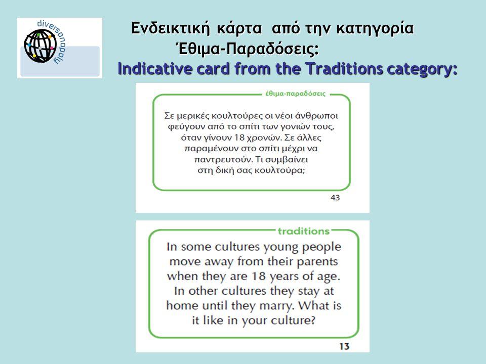 Ενδεικτική κάρτα από την κατηγορία Έθιμα-Παραδόσεις: Indicative card from the Traditions category: