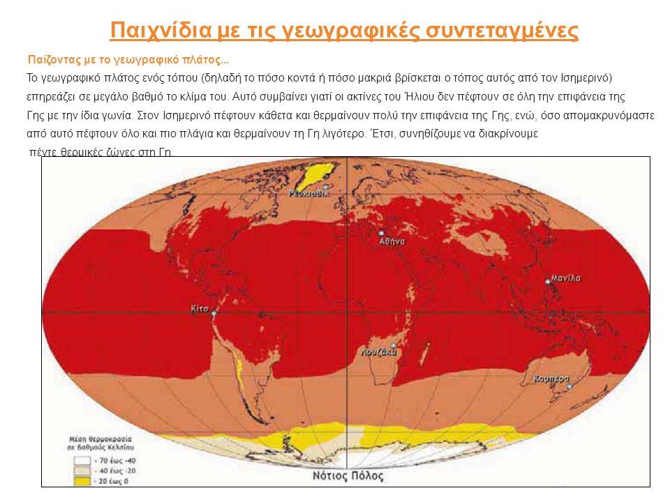 Παιχνίδια με τις γεωγραφικές συντεταγμένες Παίζοντας με το γεωγραφικό πλάτος... Το γεωγραφικό πλάτος ενός τόπου (δηλαδή το πόσο κοντά ή πόσο μακριά βρ