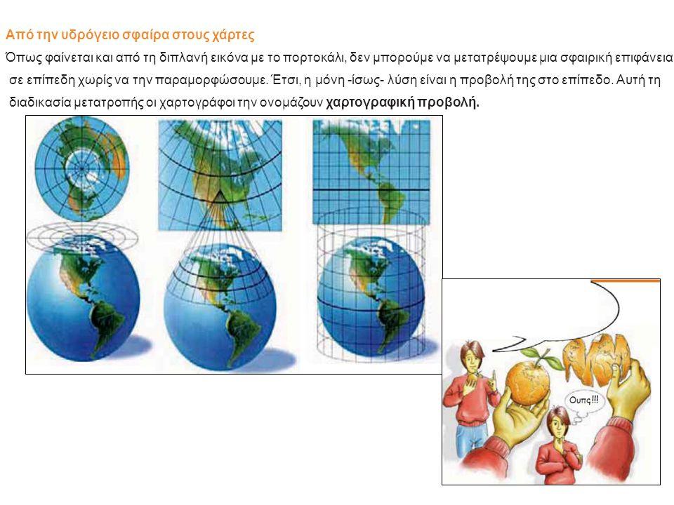 Από την υδρόγειο σφαίρα στους χάρτες Όπως φαίνεται και από τη διπλανή εικόνα με το πορτοκάλι, δεν μπορούμε να μετατρέψουμε μια σφαιρική επιφάνεια σε ε