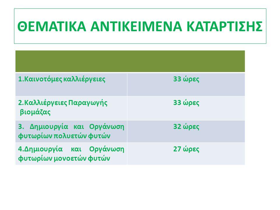 ΘΕΜΑΤΙΚΑ ΑΝΤΙΚΕΙΜΕΝΑ ΚΑΤΑΡΤΙΣΗΣ 1.Καινοτόμες καλλιέργειες33 ώρες 2.Καλλιέργειες Παραγωγής βιομάζας 33 ώρες 3.