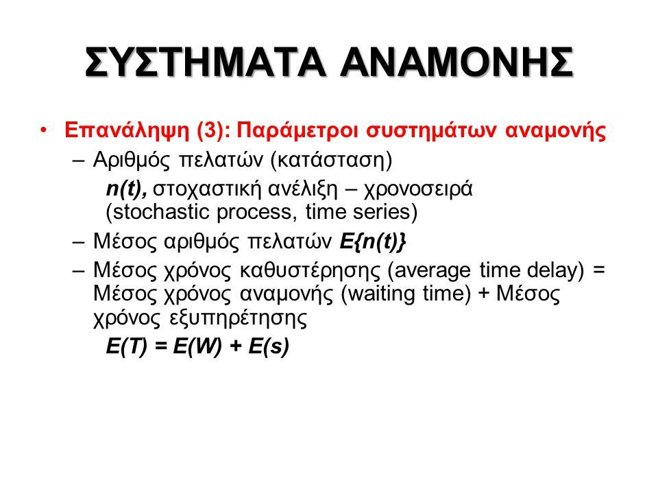 ΣΥΣΤΗΜΑΤΑ ΑΝΑΜΟΝΗΣ •Παράμετροι συστημάτων αναμονής – Τύπος Little –n(t): Κατάσταση συστήματος αναμονής –n q (t) : Αριθμός πελατών στην αναμονή –n s (t) : Αριθμός πελατών στην εξυπηρέτηση –n(t) = n q (t) + n s (t) –E{n(t)} = E{n q (t)} + E{n s (t)} –Χρόνος καθυστέρησης: Τ = W + s Ε(Τ) = E(W) + E(s) –Χρόνος καθυστέρησης Τ = W + s Ε(Τ) = Ε(n)/γ (Τύπος Little)