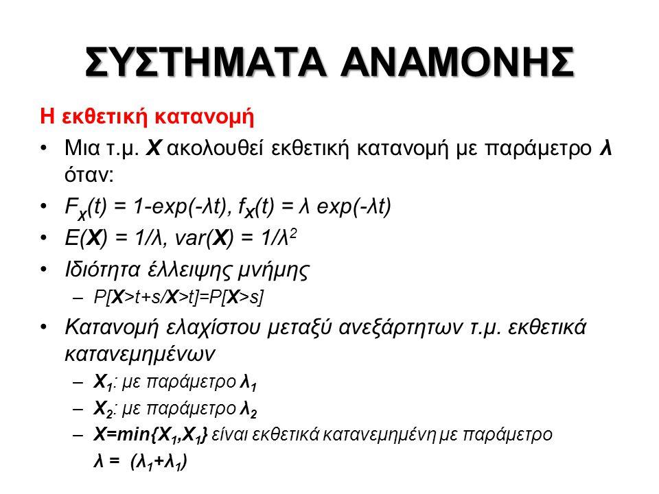 ΣΥΣΤΗΜΑΤΑ ΑΝΑΜΟΝΗΣ •Στοχαστικές διαδικασίες •Ανεξάρτητες διαδικασίες •Στάσιμες διαδικασίες •Διαδικασίες Markov •P[X(t n+1 )=x n+1 /X(t n )=x n,X(t n-1 )=x n-1,…,X(t 1 )=X 1 ]= =P[X(t n+1 )=X n+1 /X(t n )=x n ] •Εργοδικότητα •Διαδικασίες Γεννήσεων-Θανάτων: αποτελούν μια κλάση των διαδικασιών Markov, με την επιπλέον ιδιαίτερη συνθήκη ότι μεταβάσεις επιτρέπονται μόνο ανάμεσα σε γειτονικές καταστάσεις •Διαδικασία απαρίθμησης γεγονότων •Ανεξάρτητες αυξήσεις – Στάσιμες αυξήσεις