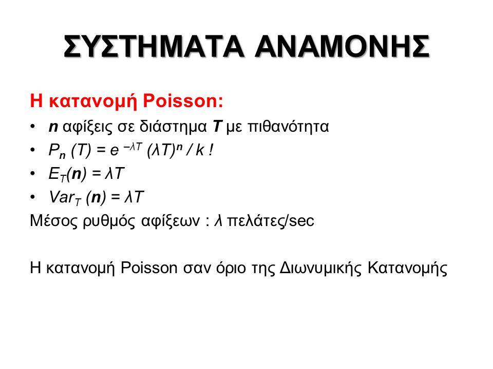 ΣΥΣΤΗΜΑΤΑ ΑΝΑΜΟΝΗΣ Ιδιότητες διαδικασίας Poisson: •Οι χρόνοι μεταξύ διαδοχικών αφίξεων μιας διαδικασίας Poisson με ρυθμό λ, είναι τ.μ εκθετικά κατανεμημένες με μέση τιμή 1/λ •Υπέρθεση ανεξάρτητων διαδικασιών Poisson λ 1, λ 2  διαδικασία Poisson λ = λ 1 + λ 2 •Διάσπαση διαδικασίας Poisson λ με πείραμα Bernoulli p, q = 1-p  ανεξάρτητες διαδικασίες Poisson λ 1 = p λ λ 2 = q λ