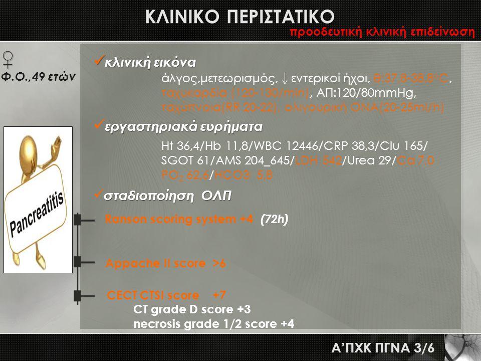 ΚΛΙΝΙΚΟ ΠΕΡΙΣΤΑΤΙΚΟ A'ΠΧΚ ΠΓΝΑ 3/6  κλινική εικόνα άλγος,μετεωρισμός, εντερικοί ήχοι, θ:37,8-38,8 ο C, ταχυκαρδία (120-130/min), ΑΠ:120/80mmHg, ταχύπ