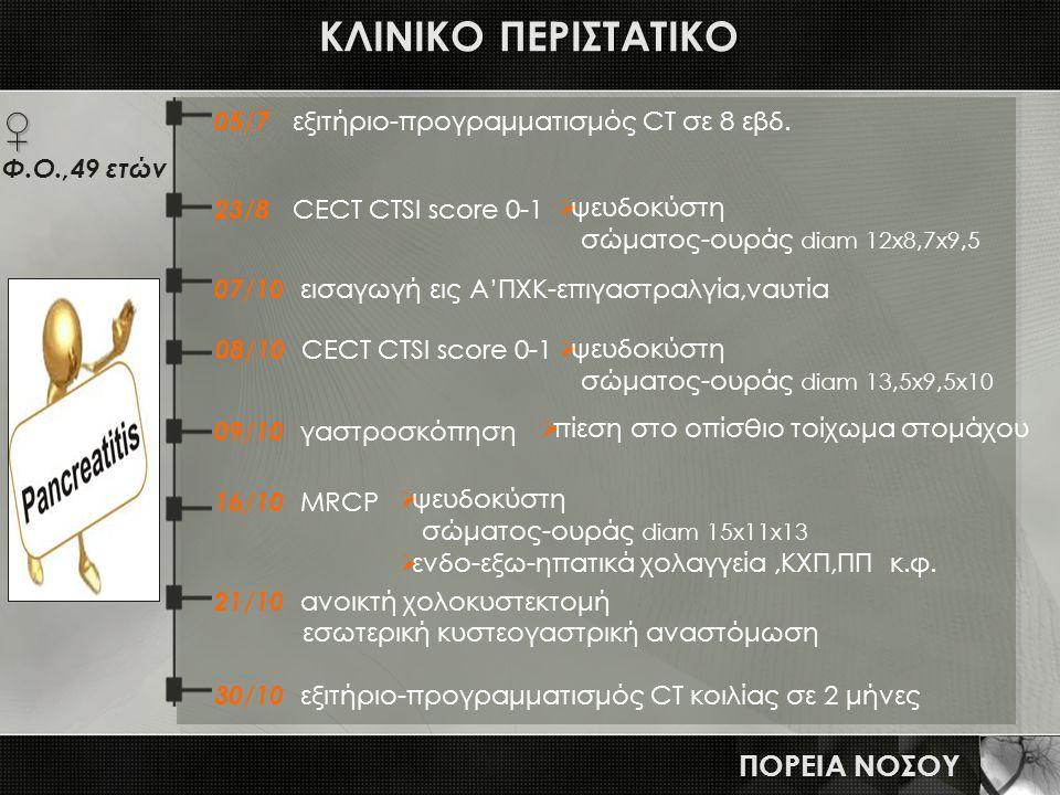 ΚΛΙΝΙΚΟ ΠΕΡΙΣΤΑΤΙΚΟ ΠΟΡΕΙΑ ΝΟΣΟΥ 05/7 εξιτήριο-προγραμματισμός CT σε 8 εβδ. 08/10 CECT CTSI score 0-1 16/10 MRCP 21/10 ανοικτή χολοκυστεκτομή εσωτερικ