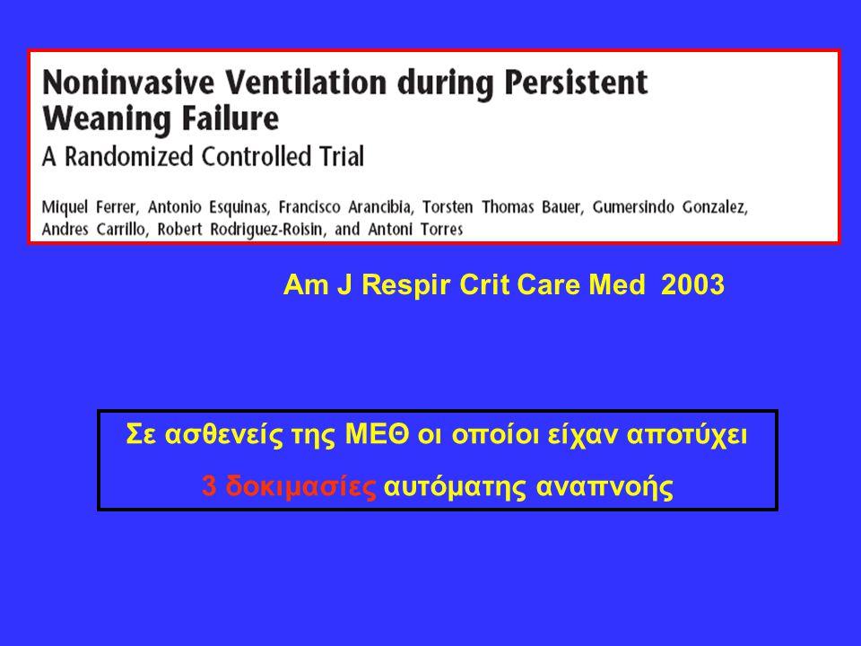 Am J Respir Crit Care Med 2003 Σε ασθενείς της ΜΕΘ οι οποίοι είχαν αποτύχει 3 δοκιμασίες αυτόματης αναπνοής