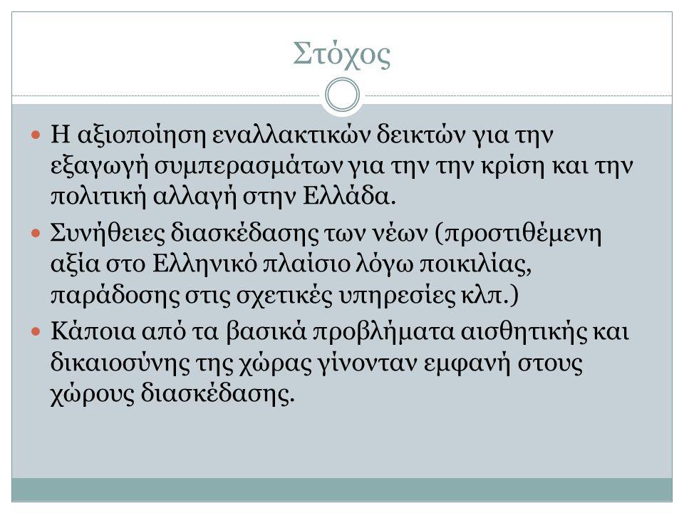 Στόχος  Η αξιοποίηση εναλλακτικών δεικτών για την εξαγωγή συμπερασμάτων για την την κρίση και την πολιτική αλλαγή στην Ελλάδα.  Συνήθειες διασκέδαση
