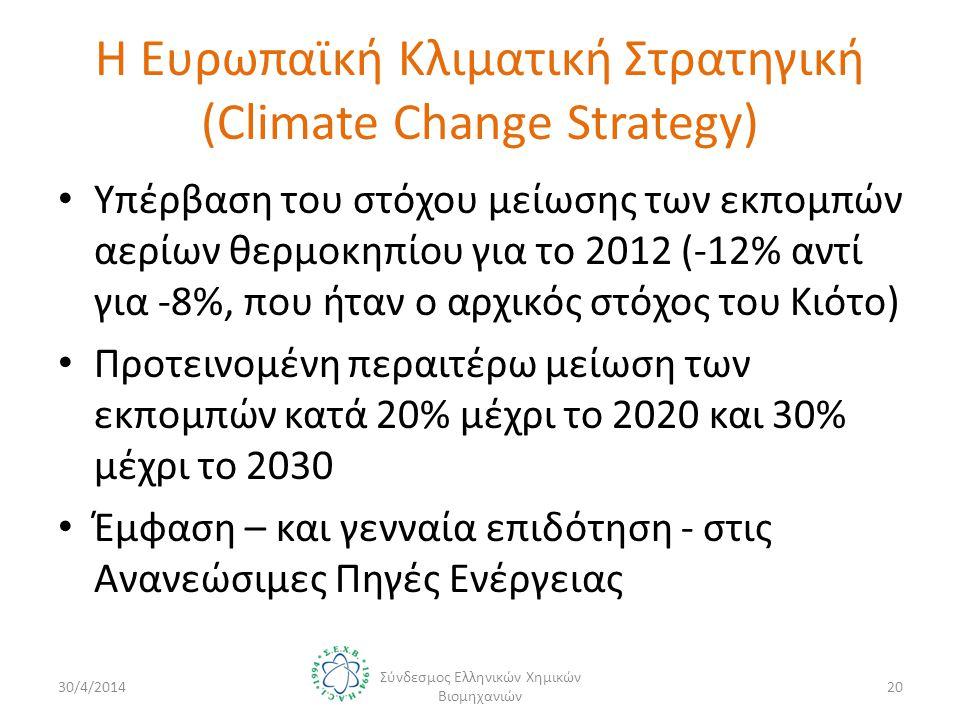 Η Ευρωπαϊκή Κλιματική Στρατηγική (Climate Change Strategy) • Υπέρβαση του στόχου μείωσης των εκπομπών αερίων θερμοκηπίου για το 2012 (-12% αντί για -8%, που ήταν ο αρχικός στόχος του Κιότο) • Προτεινομένη περαιτέρω μείωση των εκπομπών κατά 20% μέχρι το 2020 και 30% μέχρι το 2030 • Έμφαση – και γενναία επιδότηση - στις Ανανεώσιμες Πηγές Ενέργειας 30/4/2014 Σύνδεσμος Ελληνικών Χημικών Βιομηχανιών 20
