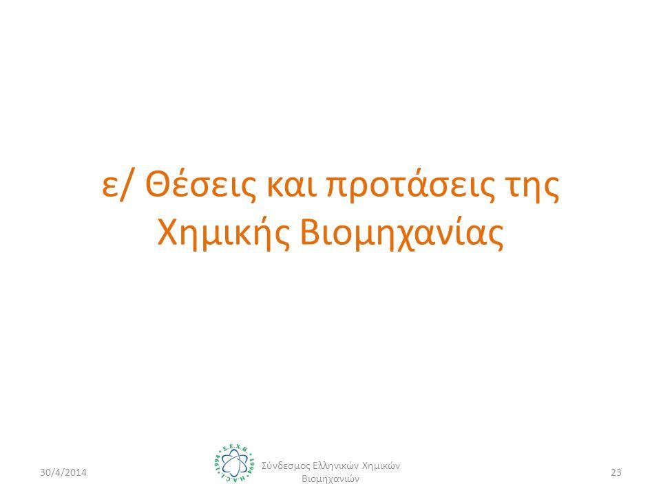 ε/ Θέσεις και προτάσεις της Χημικής Βιομηχανίας 30/4/2014 Σύνδεσμος Ελληνικών Χημικών Βιομηχανιών 23