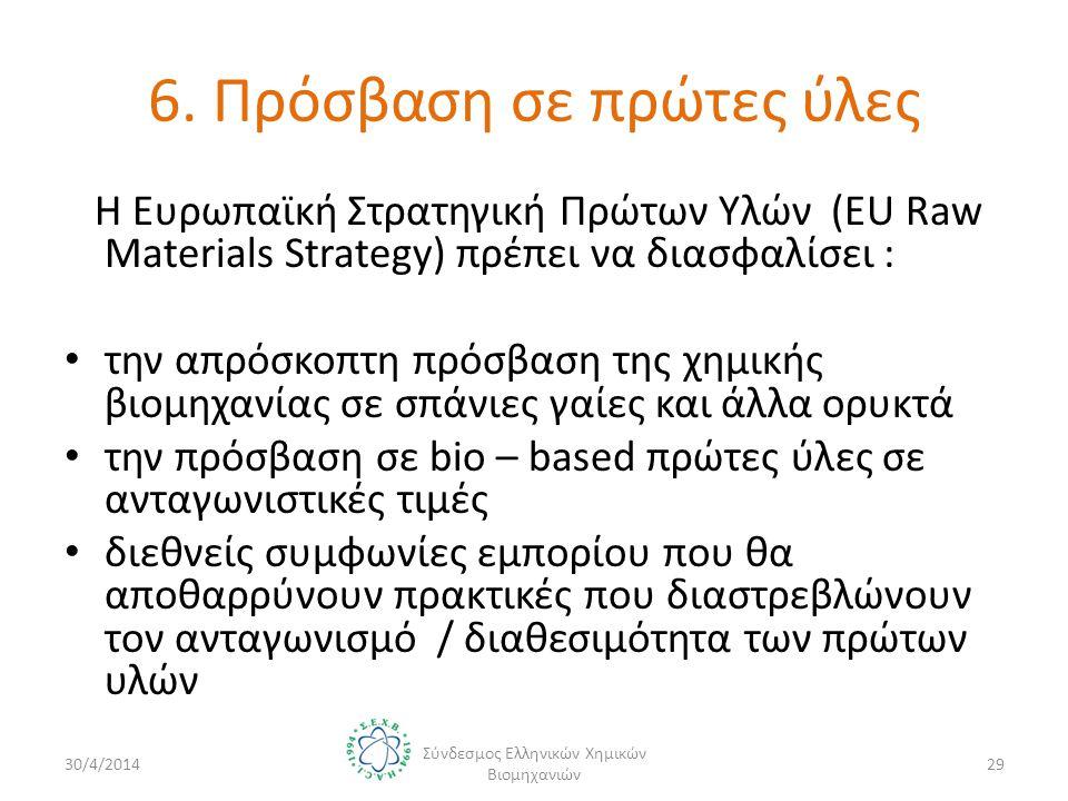 6. Πρόσβαση σε πρώτες ύλες Η Ευρωπαϊκή Στρατηγική Πρώτων Υλών (EU Raw Materials Strategy) πρέπει να διασφαλίσει : • την απρόσκοπτη πρόσβαση της χημική