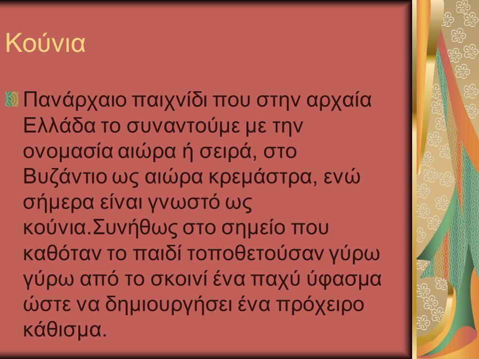 Κούνια Πανάρχαιο παιχνίδι που στην αρχαία Ελλάδα το συναντούμε με την ονομασία αιώρα ή σειρά, στο Βυζάντιο ως αιώρα κρεμάστρα, ενώ σήμερα είναι γνωστό