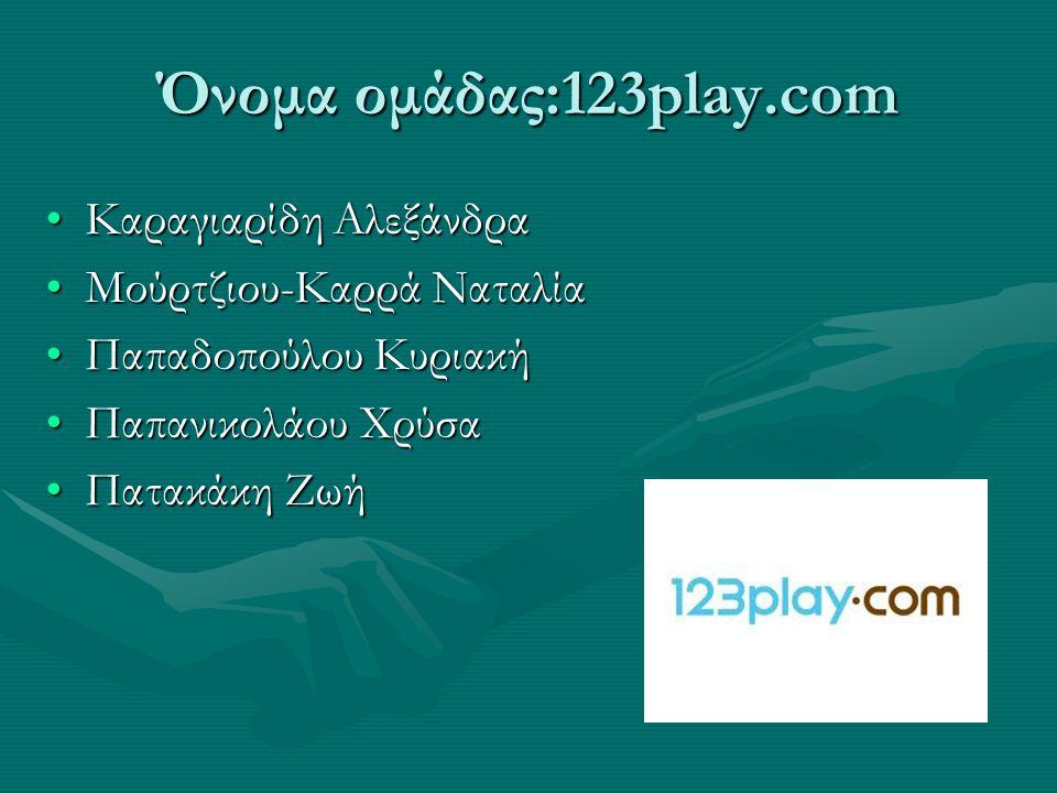 Όνομα ομάδας:123play.com •Καραγιαρίδη Αλεξάνδρα •Μούρτζιου-Καρρά Ναταλία •Παπαδοπούλου Κυριακή •Παπανικολάου Χρύσα •Πατακάκη Ζωή