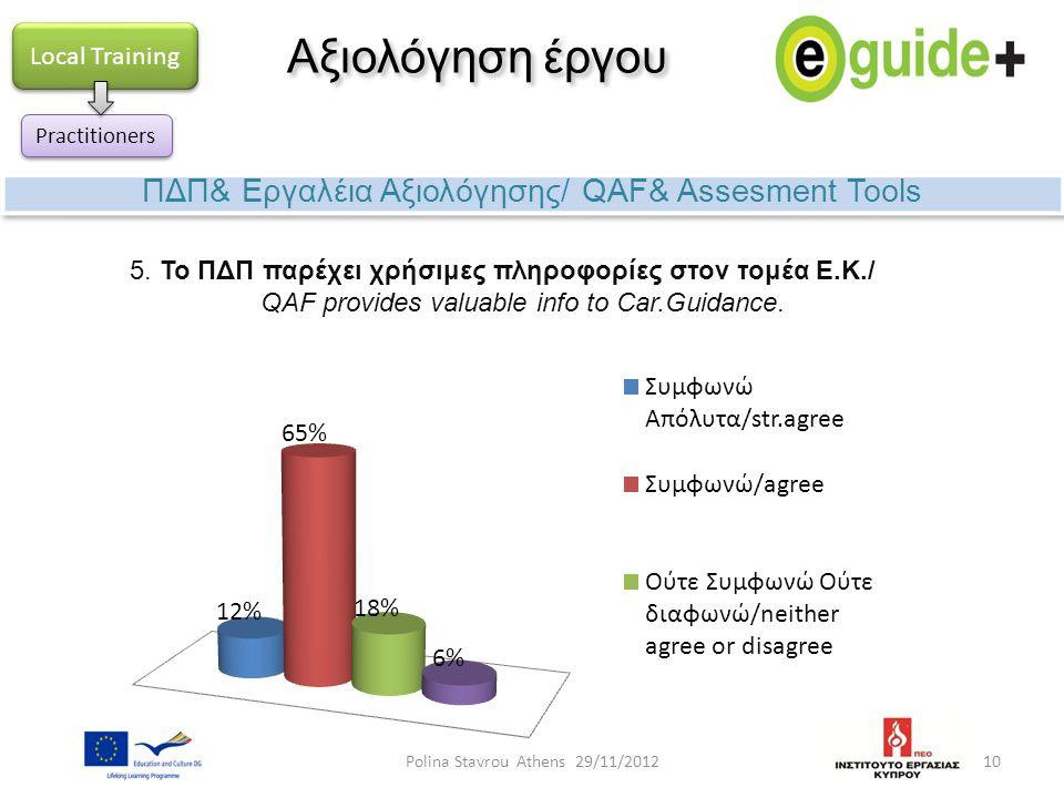 10 Αξιολόγηση έργου ΠΔΠ& Εργαλέια Αξιολόγησης/ QAF& Assesment Tools Local Training Practitioners 5. Το ΠΔΠ παρέχει χρήσιμες πληροφορίες στον τομέα E.K