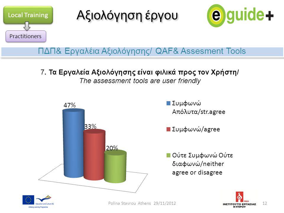 12 Αξιολόγηση έργου ΠΔΠ& Εργαλέια Αξιολόγησης/ QAF& Assesment Tools Local Training Practitioners 7. Τα Εργαλεία Αξιολόγησης είναι φιλικά προς τον Χρήσ