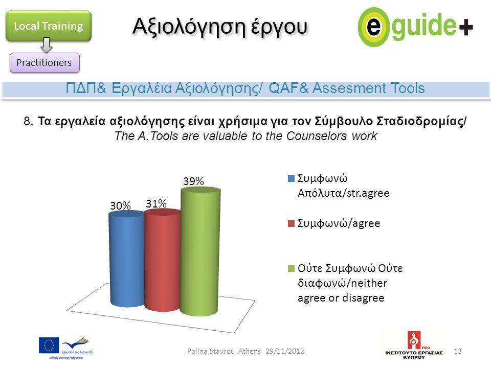 13 Αξιολόγηση έργου ΠΔΠ& Εργαλέια Αξιολόγησης/ QAF& Assesment Tools Local Training Practitioners 8. Τα εργαλεία αξιολόγησης είναι χρήσιμα για τον Σύμβ