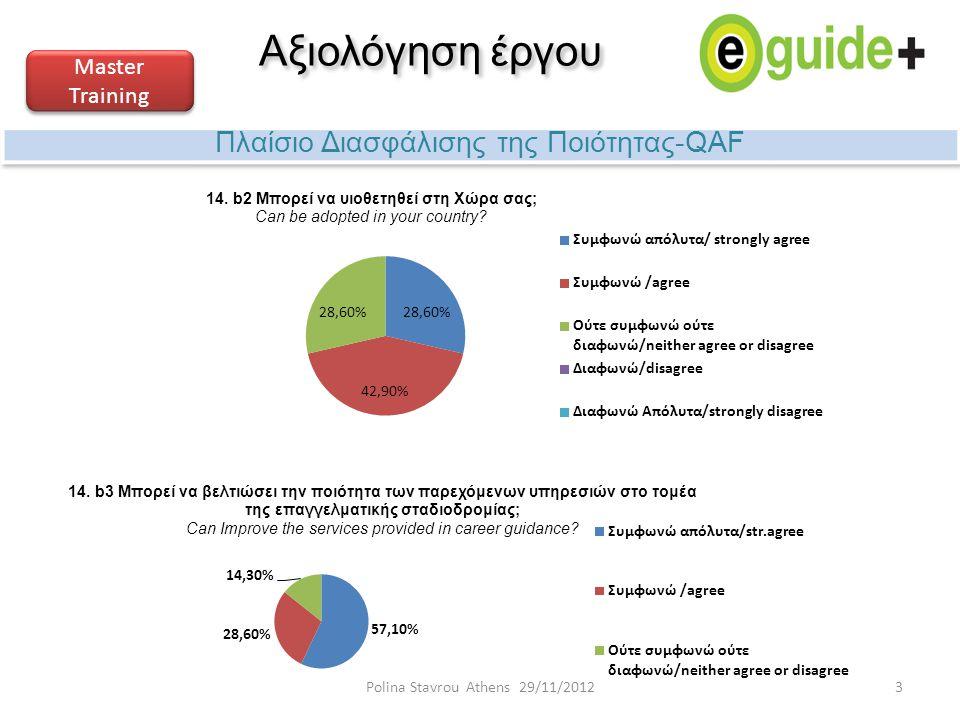 Αξιολόγηση έργου Πλαίσιο Διασφάλισης της Ποιότητας-QAF Master Training 3Polina Stavrou Athens 29/11/2012