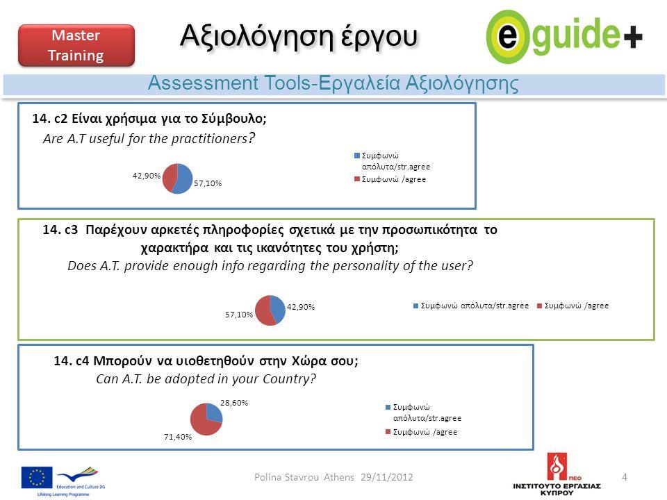 Αξιολόγηση έργου Assessment Tools-Εργαλεία Αξιολόγησης Master Training 4Polina Stavrou Athens 29/11/2012