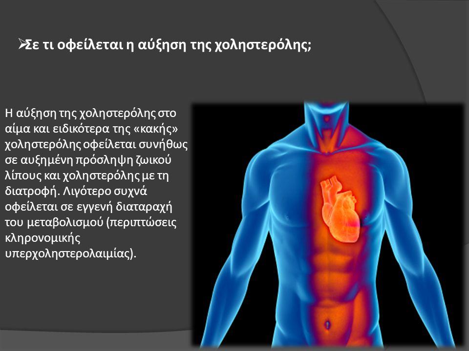  Σε τι οφείλεται η αύξηση της χοληστερόλης; Η αύξηση της χοληστερόλης στο αίμα και ειδικότερα της «κακής» χοληστερόλης οφείλεται συνήθως σε αυξημένη