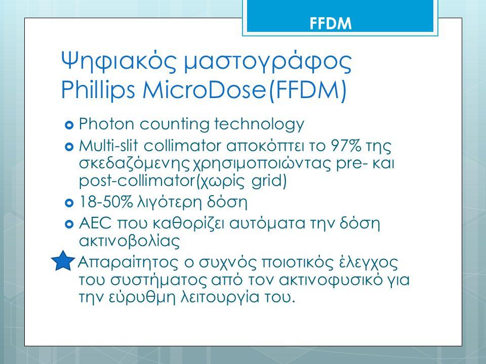 Ψηφιακός μαστογράφος Phillips MicroDose(FFDM)  Photon counting technology  Multi-slit collimator αποκόπτει το 97% της σκεδαζόμενης χρησιμοποιώντας pre- και post-collimator(χωρίς grid)  18-50% λιγότερη δόση  AEC που καθορίζει αυτόματα την δόση ακτινοβολίας Απαραίτητος ο συχνός ποιοτικός έλεγχος του συστήματος από τον ακτινοφυσικό για την εύρυθμη λειτουργία του.